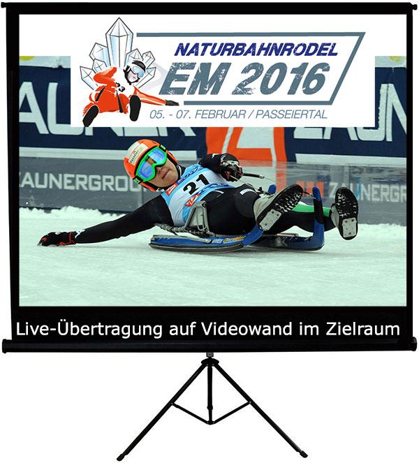 Live-Übertragung auf Videowand im Zielraum